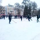 В Пензе на  Фонтанной площади состоялся турнир по хоккею в валенках