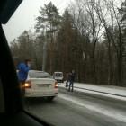 Массовая авария на Окружной с участием пяти машин: «Ларгус» в кювете, район в пробке