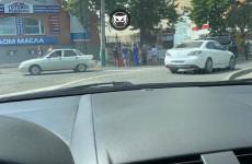 Жители Пензы стали свидетелями пожара в ларьке на улице Ставского