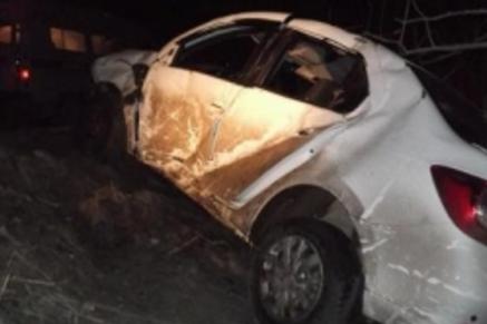 Ночью вГородищенском районе перевернулась иностранная машина
