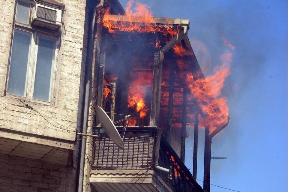 Пожар ввысотке наулице Краснова вПензе