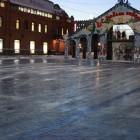 Теплый декабрь. На площади Ленина на выходные залили каток