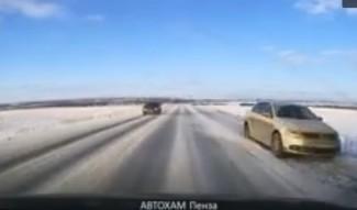 В Пензенской области маневр лихача попал на видео