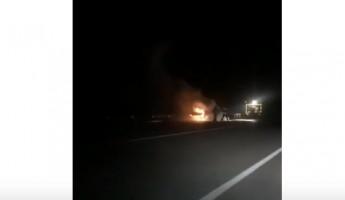 Полыхающий на трассе «Пенза-Тамбов» фургон попал на видео