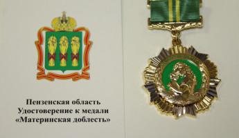 Медали «Материнская доблесть» получат более 50 жительниц Пензенской области